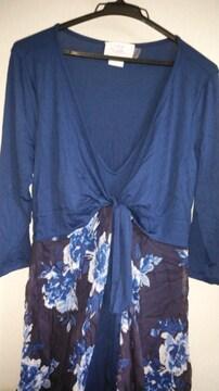 白&青薔薇シフォン重ね紺色ロングOP◆大きいサイズ春◆8日迄セット割