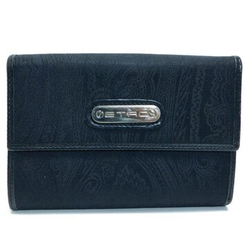 ETROエトロ 三つ折り財布 ペイズリー柄 黒 良品 正規品