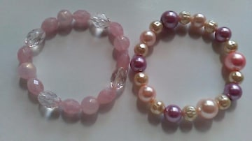 ピンク姫系ブレスレット2種