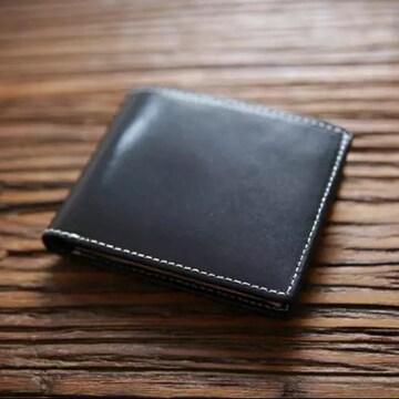 本革 イタリアンレザー 二つ折り 財布 コンパクト ブラック