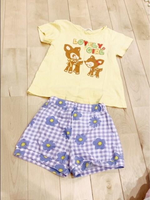 シカ可愛いプリントTシャツと紫デイジー花柄パンツ95 2点セット