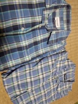 ブルー系チェックシャツ 2枚セット