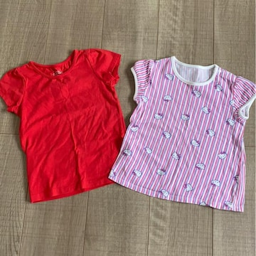 女の子2枚まとめ売り半袖Tシャツ90.95きてぃーちゃん美品