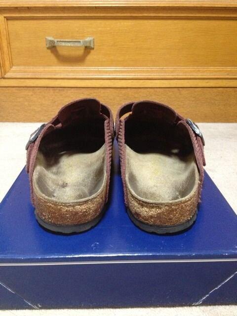ビルケンシュトック ボストン スエードレザー サンダル 靴 38 24.5cm 幅広 茶 スリッポン < ブランドの