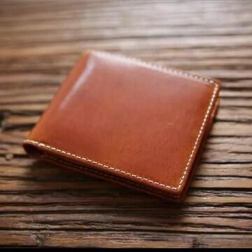 本革 イタリアンレザー 二つ折り 財布 コンパクト ブラウン