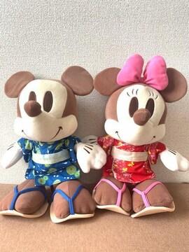 ディズニー ミッキー&ミニーマウス 浴衣姿 ペア BIGぬいぐるみ 約40cm