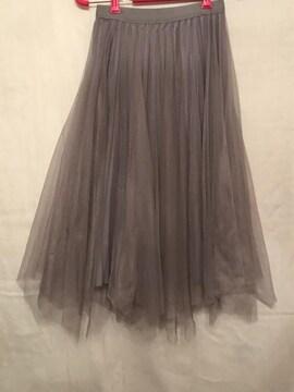 2way チュールロングスカート プリーツスカート M-L