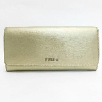 FURLAフルラ 二つ折り財布 レザー ゴールド系 良品 正規品