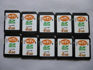 SDカード:mTc SD HC・4GB・10個セット 中古品