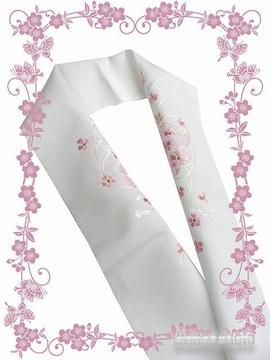 【和の志】洗える着物に◇刺繍半衿◇白系・鼓・小花◇PSH-64