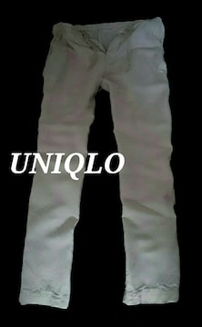 【UNIQLO】リネンコットンイージーパンツ M(76〜84�p)/O.White 麻&綿