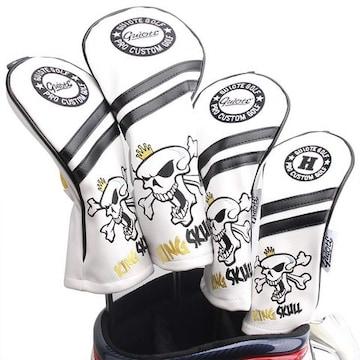ゴルフヘッドカバー King Skull-White