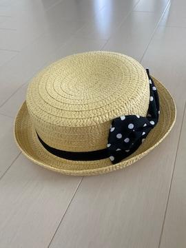 薄い黄色っぽいベージュドットデカリボン麦わらカンカン帽子