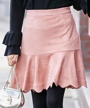 tocco closet 裾スカラップフェイクスエードスカート