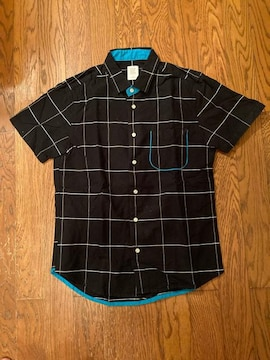 graniph グラニフ チェック シャツ ブラック 半袖 古着
