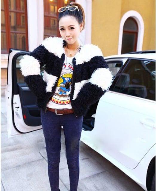 人気★ツートンリーバシブルモヘヤ★ショート★ジャケットBK < 女性ファッションの