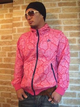 【ジップで真っ二つ!】NIKEセパレートナイロンジャケットセメント柄ピンクM♪IDナイキ