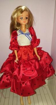 レアドット柄赤ドレスを着た90年代ジェニードール人形難有り