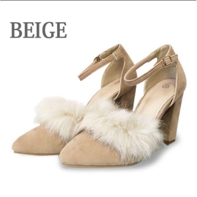 リアルファー ベルト 靴 24 24.5 パンプス < 女性ファッションの