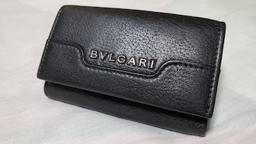 正規 ブルガリ アーバン エンブレムロゴ キーケース黒 6連フック×リング マルチキーホルダー