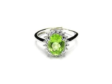 訳有ペリドット指輪大粒楕円カット貴重天然石約16号調整可能