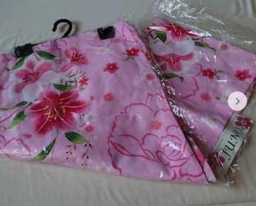 #訳あり、すべて新品、フリーサイズ、綿ゆかたセット、ピンク柄