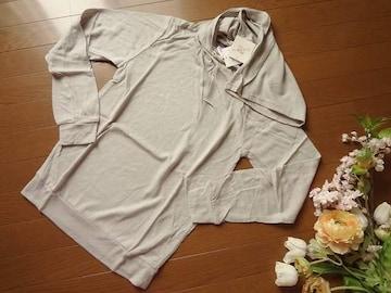 新品Rba+1ストール付きアンゴラ混長袖ニットMグレー