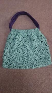 手編みのミニバッグ、グリーン