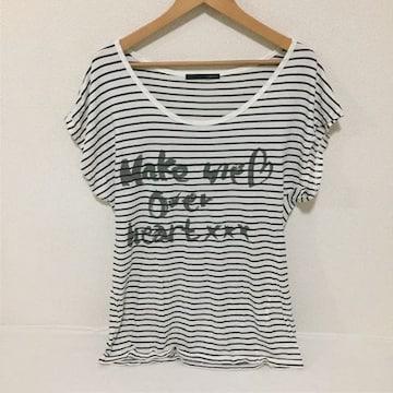 #HeatherボーダーロゴTシャツ F
