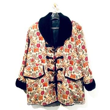 ◆レトロ系◆フェイクファー付き花柄ゴブラン織りダッフルコート