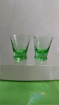 レア 古い切り子  花柄  緑色 ショトグラス