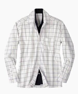 10Lサイズ紳士的イタリアンカラー切替!前ボタン部分が二重デザイン長袖シャツ!