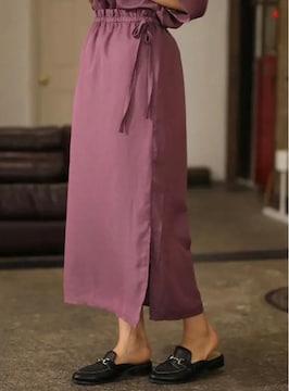 Koe ウエストリボン付きIラインスカート パープル