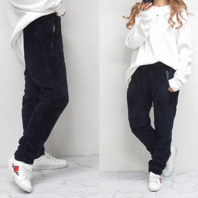 NEW最新【L】ふわふわ肉厚シャギーボアWideジョガーパンツ男女OKn  < 男性ファッションの