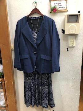 3L紺ストレッチセットアップ+ノーカラージャケット
