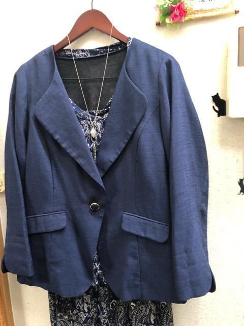 3L紺ストレッチセットアップ+ノーカラージャケット < 女性ファッションの