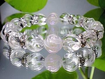 薔薇彫ローズクオーツ・トルネ-ド水晶