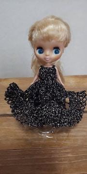 プチブライス黒×ラメのレース編みドレス