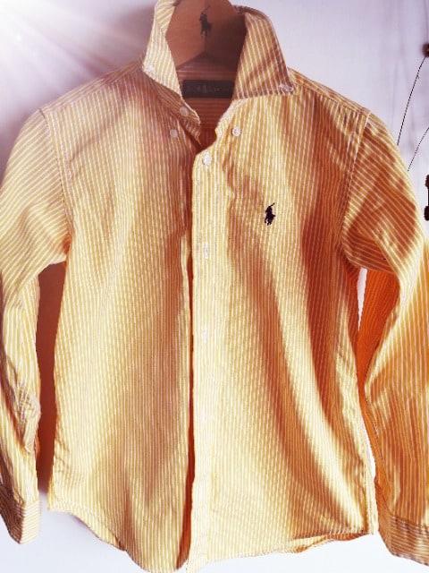 RALPH LAUREN☆人気定番ストライプシャツ☆速乾。yellow×whiteラルフローレン