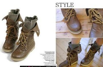 ニットinショートブーツ【在庫処分】靴 美脚 レディース