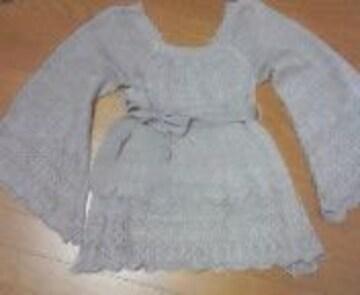かぎ編み紐ベルト付きシルバーグレー