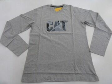M 灰)CAT キャタピラー★ロングスリーブシャツ 長袖 丸首 ロゴ 2511159 ロンT 綿