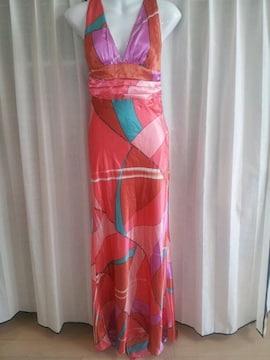 ピンクオレンジ系プッチ柄マーメイドトレーンロングドレス