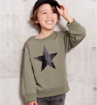 新品ANAPKIDS☆125~135 スター ロゴ トレーナー カーキ アナップキッズ