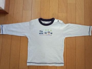 淡い水色系・汽車の長袖シャツ〔95�a〕
