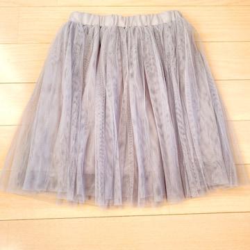 グレーチュールミニスカートフレアスカート灰色シースルー
