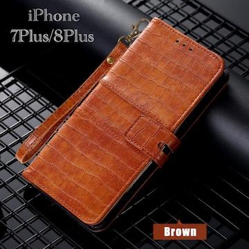iPhone8Plus iPhone7Plus 手帳型ケース クロコダイル ブラウン