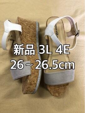 新品☆3L26〜26.5cm4E厚底ウェッジサンダル グレー系☆j381