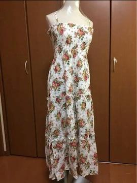 ヒラヒラワンピース 花柄♪ロングワンピース マキシワンピース
