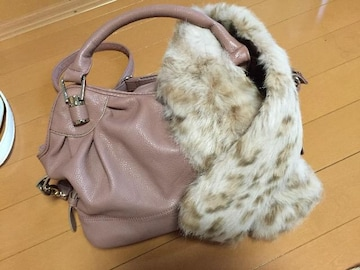 難あり☆ピンクファー付きショルダーバック☆カバン☆